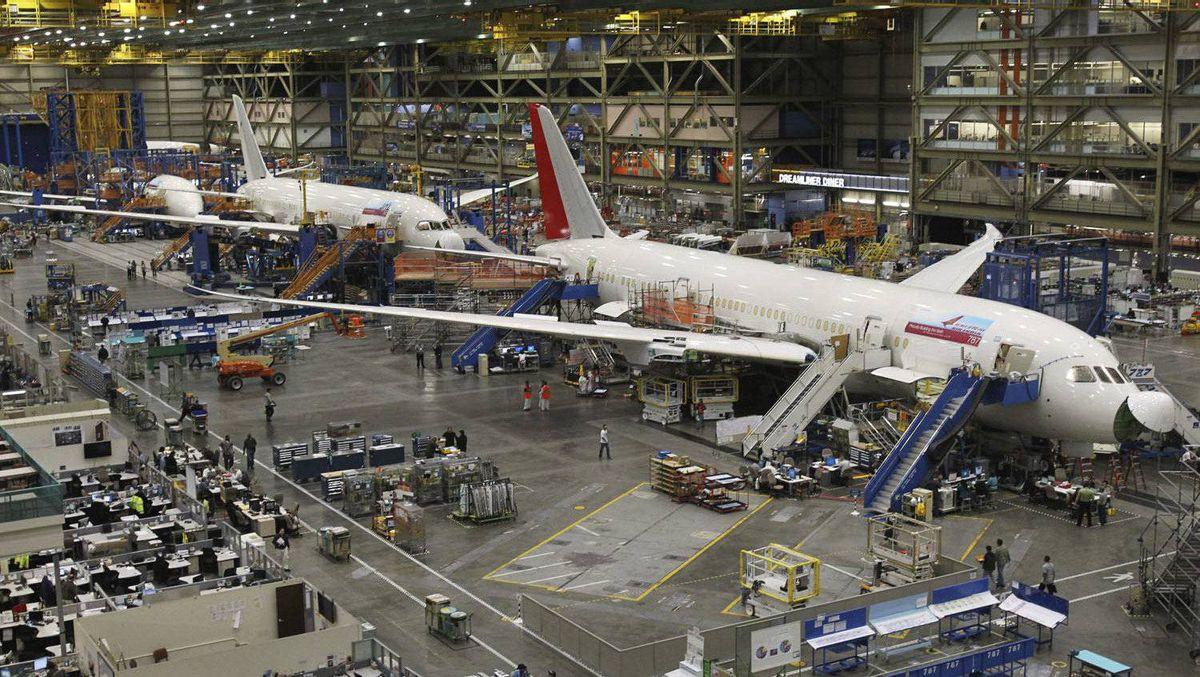 787 Dreamliners on the production line at the Boeing Commercial Airplane manufacturing facility in Everett, Wash., Feb 14, 2011.