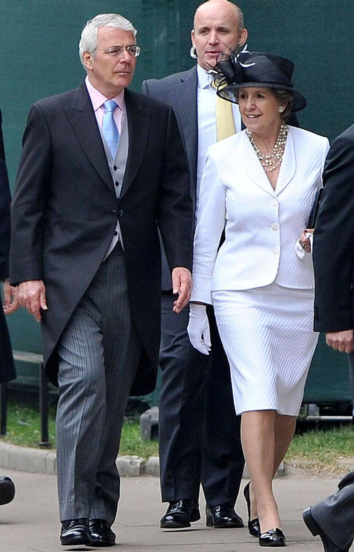 Former British Prime Minister John Major and Norma Major arrive to attend the Royal Wedding of Prince William to Catherine Middleton at Westminster Abbey on April 29, 2011 in London, England.