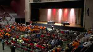 Participants listen to testimony on the Keystone XL pipeline at the Pershing Auditorium in Lincoln, Neb.