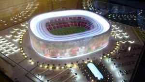 FIFA has been mired in controversy, including allegations that millions in bribes were paid in connection with the awarding of the World Cup to Russia in 2018 and Qatar in 2022. Qatar's bid included models for a dozen stadiums, including this one.