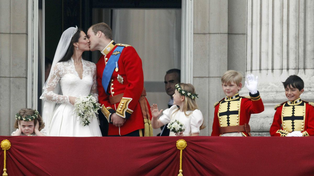 William and Catherine, Duke and Duchess of Cambridge, kiss on the balcony of Buckingham Palace after their wedding in Westminster Abbey on April 29.