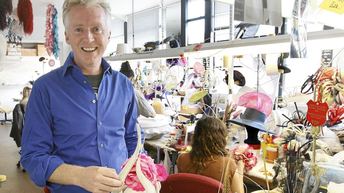 Philip Treacy, Irish milliner based in London seen in his workshop during an interview with the Associated Press in London, April, 18, 2011.