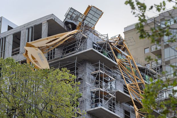 Crews remove several sections of storm-toppled crane in Halifax