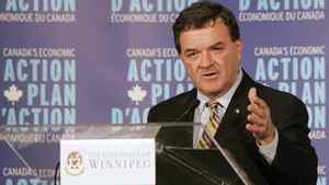 Finance Minister Jim Flaherty presents an update on the government's Action Plan at the University of Winnipeg. John Woods/The Canadian Press