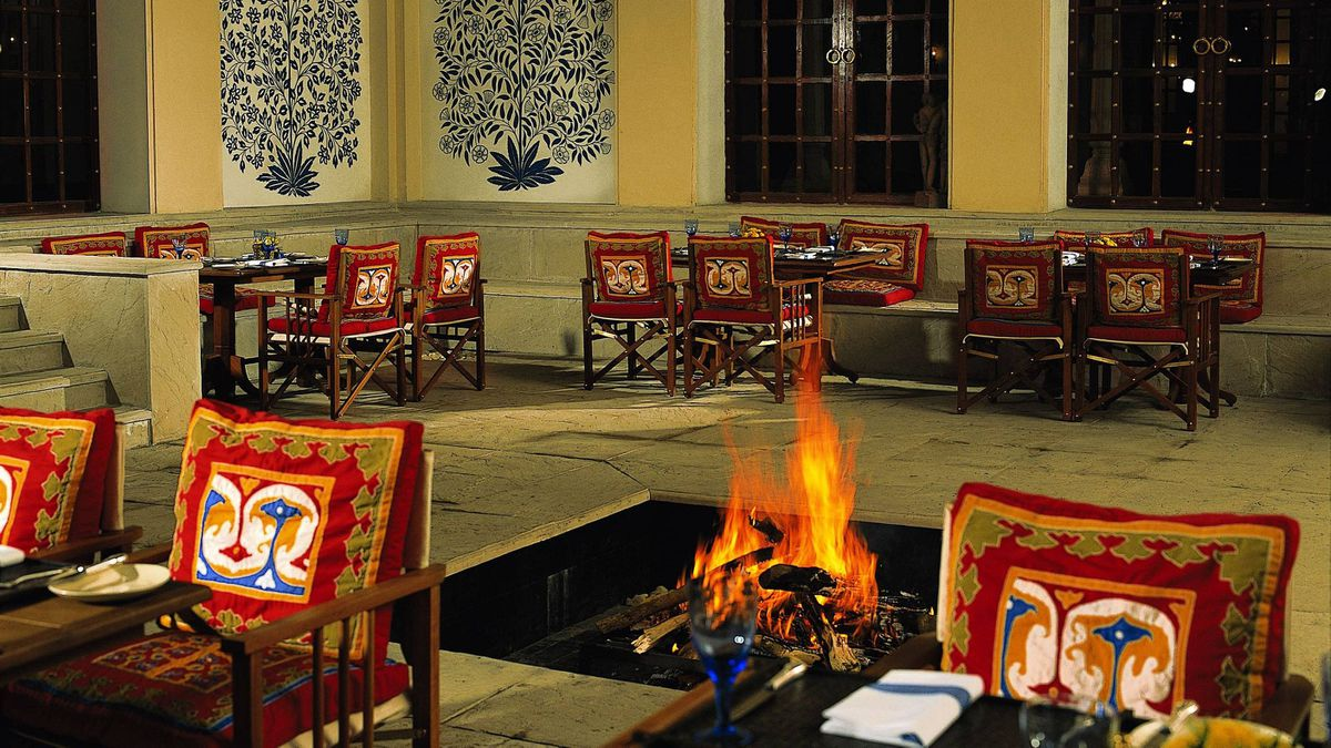 The dining room of the Oberoi Vanyavilas resort in Ranthambhore, India.