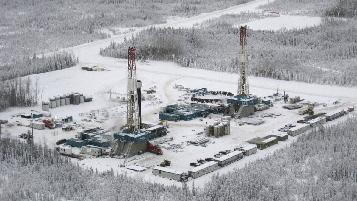 EnCana natural gas drilling plant in the Horn River basin north of Fort Nelson, B.C.