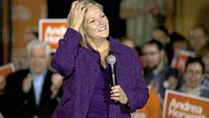 NDP's Andrea Horwath attends a rally with supporters the morning after the televised Leader's Debate as she continues her campaign for the Ontario Premiership on Wednesday September 28, 2011.