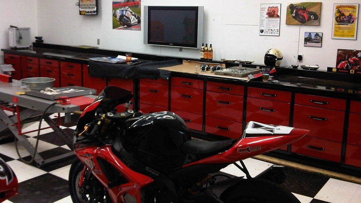 Freightliner Manitoba co-owner Rod Snyder's repair shop for his motorcycles at his Winnipeg home.
