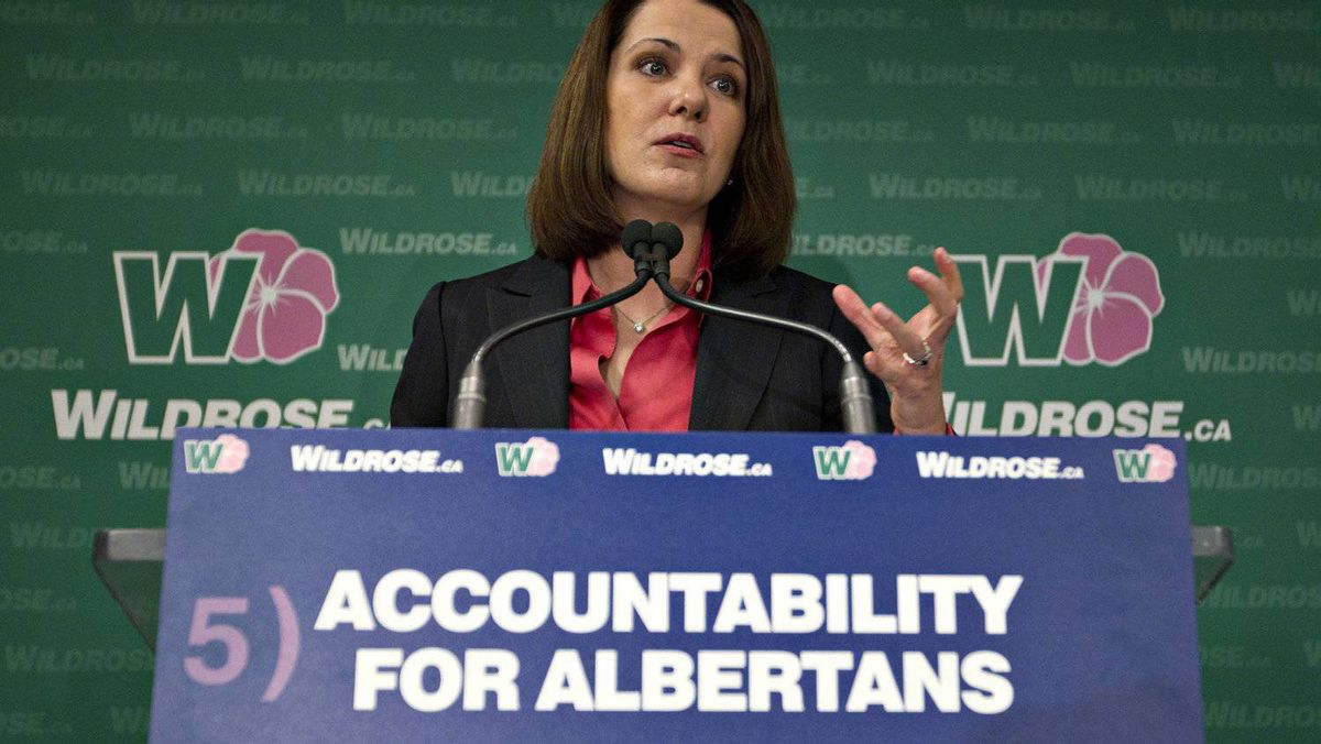 Wildrose leader Danielle Smith announces the fifth and final Wildrose pledge called the Alberta Accountability Act in Edmonton on April 9, 2012.