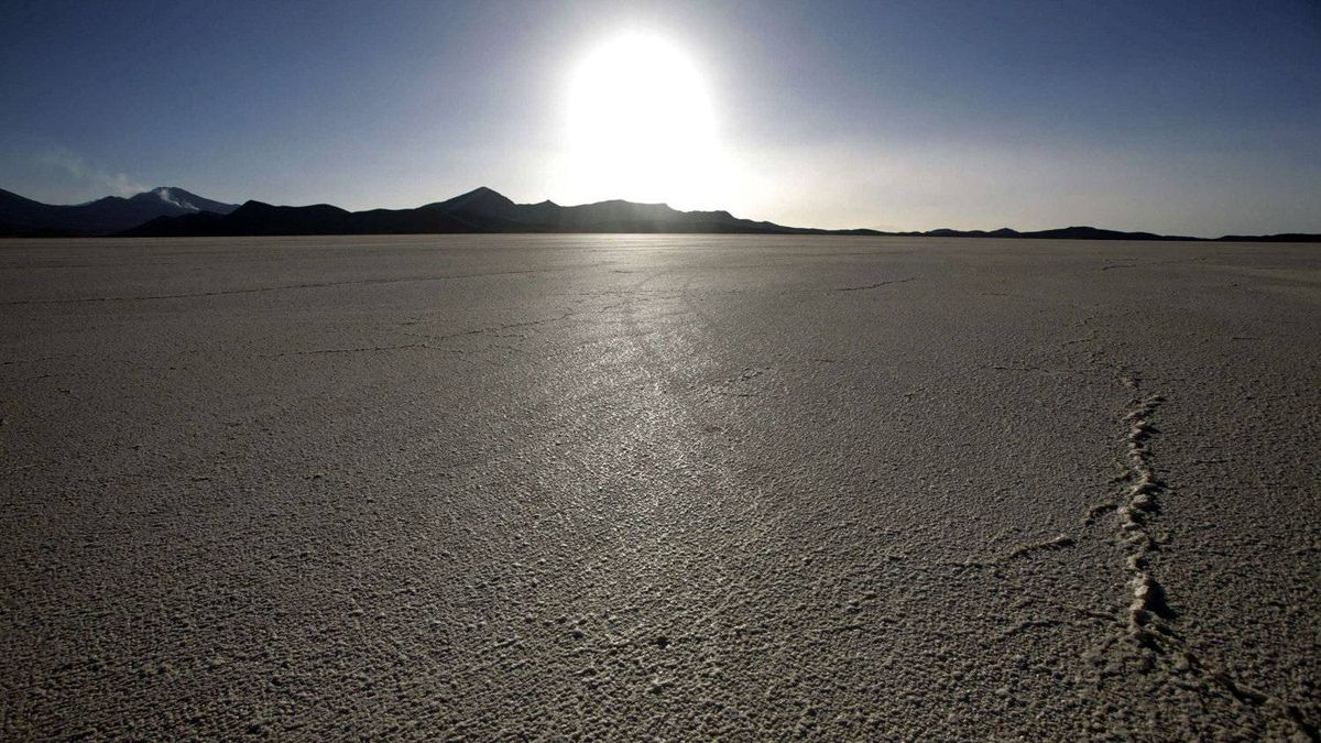 A view of Bolivia's Uyuni salt lake, which holds the world's largest reserve of lithium. The metal, which is in short supply, is needed to make wind turbines and lithium-ion batteries in hybrid cars.