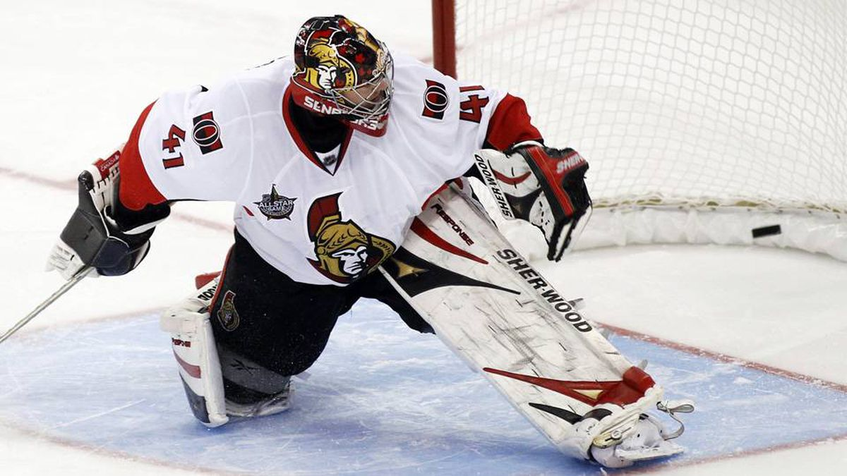 Ottawa Senators' goalie Craig Anderson fails to stop the game-winning goal during a shootout in their NHL hockey game against the Buffalo Sabres.