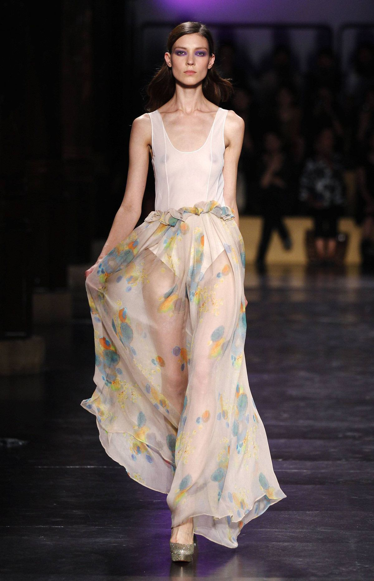 Ah, the gauzy, knicker-revealing skirt. For spring, the winning way to show a little leg is the suggestion of it from under a diaphanous dress.