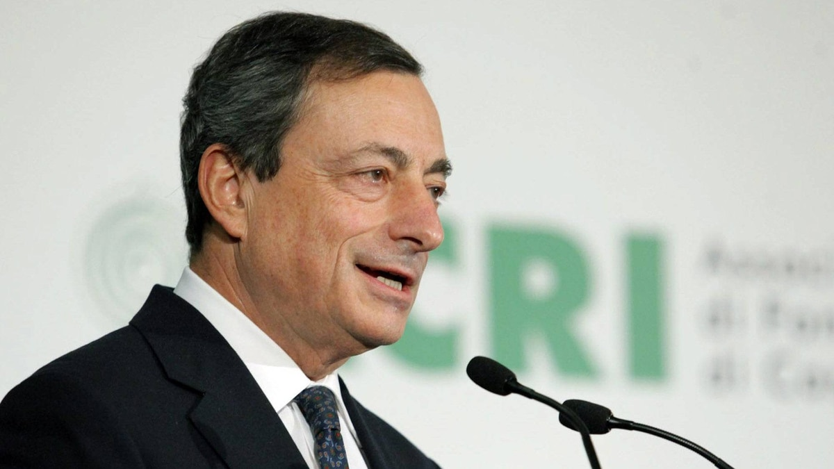 "Outgoing Bank of Italy governor Mario Draghi, who will take over at the helm of the European Central Bank (ECB) on Nov. 1, delivers his speech during the ""World Day of Saving"" event in Rome Wednesday, Oct. 26, 2011. Pressed hard by the EU, Premier Silvio Berlusconi averted a government collapse and reached a deal with allies on emergency growth measures in time for an EU summit on saving the euro. (AP Photo/Mauro Scrobogna, LaPresse) ITALY OUT"