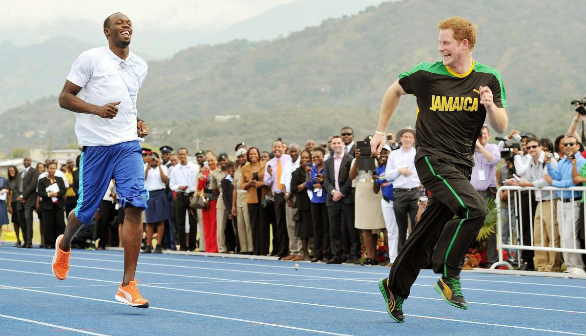 Prince Harry is first out of the blocks against Olympic sprint champion Usain Bolt.
