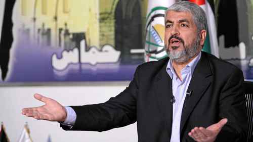 Hamas leader Khaled Meshaal talks about a prisoner swap between Hamas and Israel at his office in Damascus Oct.11, 2011.
