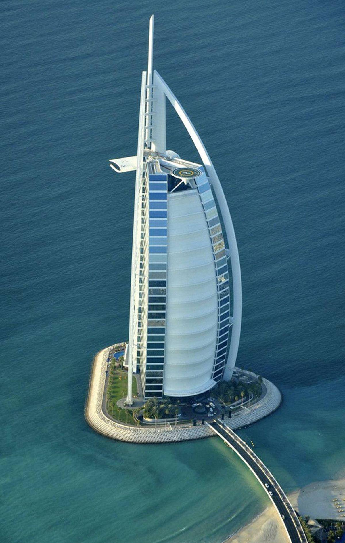 An aerial view of the Burj Al Arab hotel in Dubai December 21, 2009.