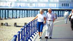 view of a mature couple walking on a pier