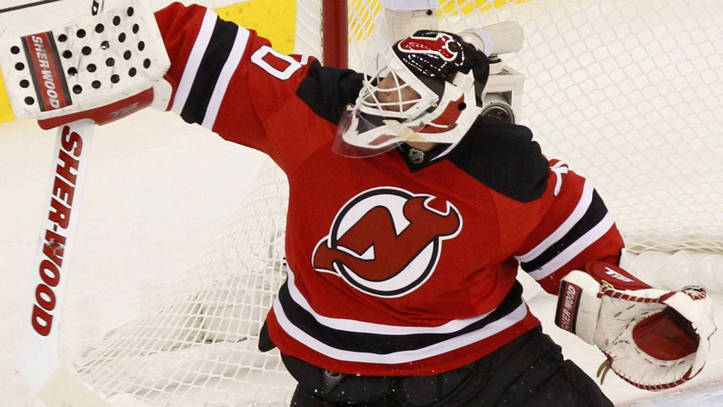 ... New Jersey Devils goalie Martin Brodeur makes a save against the New  York Rangers during the 00b188cad