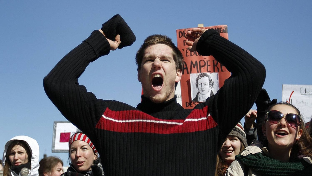 University and CEGEP students demonstrate against a hike in tuition fees in front of the National Assembly in Quebec City, March 27, 2012.