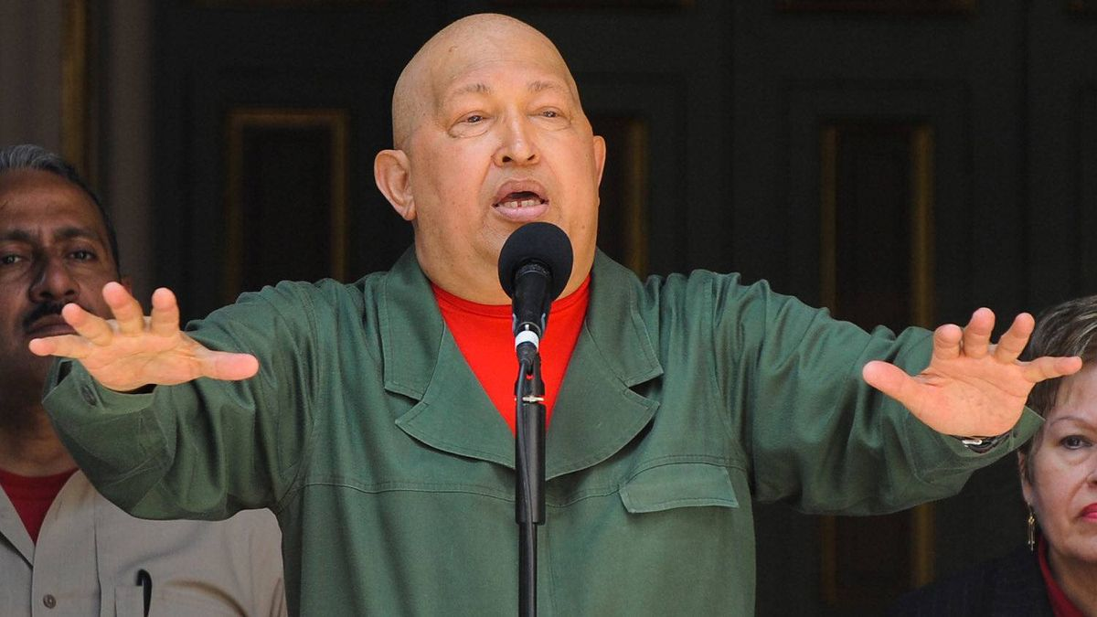 Venezuelan President Hugo Chavez delivers a speech at the Miraflor presidential palace in Caracas on October 1, 2011.