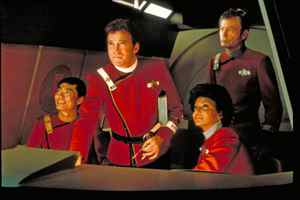 William Shatner stars with George Takei, Nichelle Nichols and De Forest Kelly in Star Trek: The Wrath of Khan.