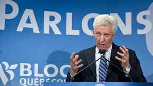 Bloc Quebecois Leader Gilles Duceppe unveils his campaign slogan - 'Let's talk' -on March 28, 2011 in Montreal.