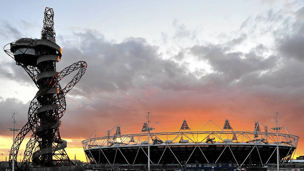 The Olympic Stadium and Orbit tower at the Olympic Park in Stratford, London.