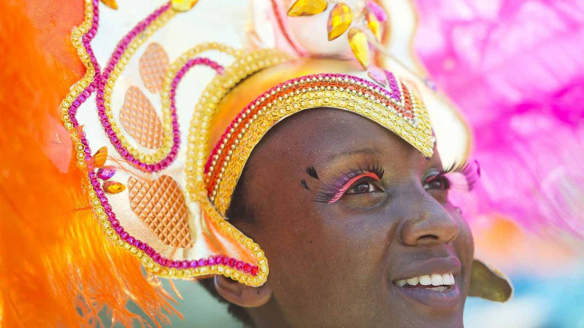 A member of the Caribbean Carnival parade on July 30, 2011.