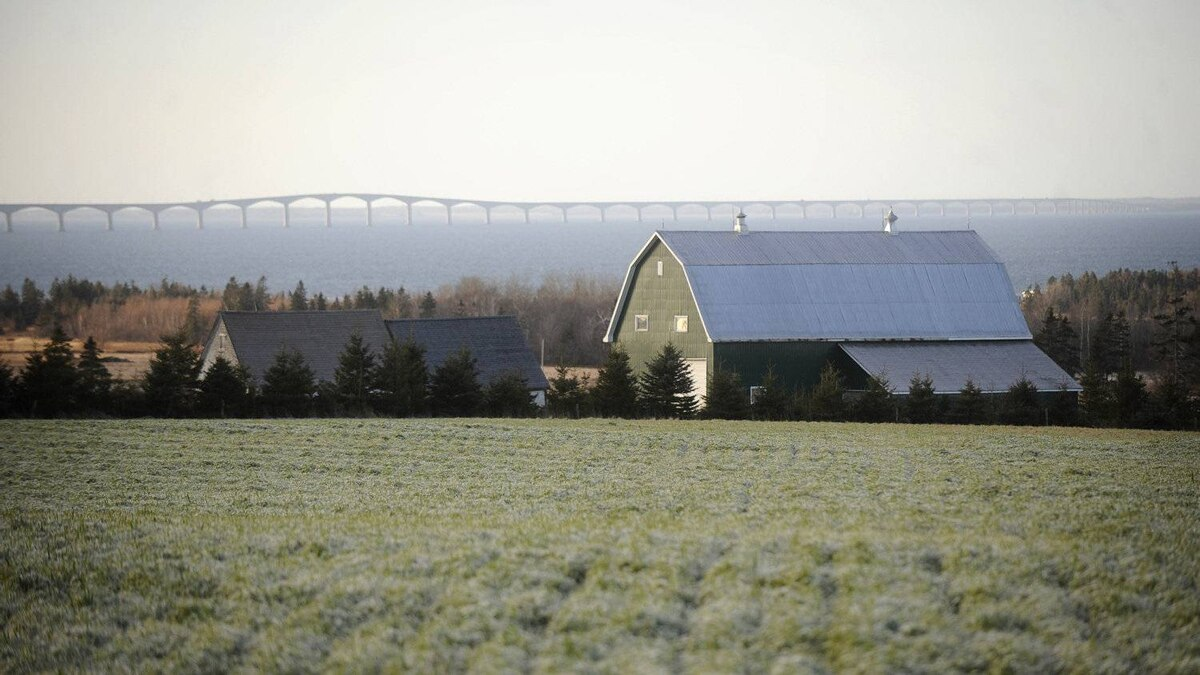 A home near Borden-Carleton, PEI is seen as the Confederation Bridge looms in the background.