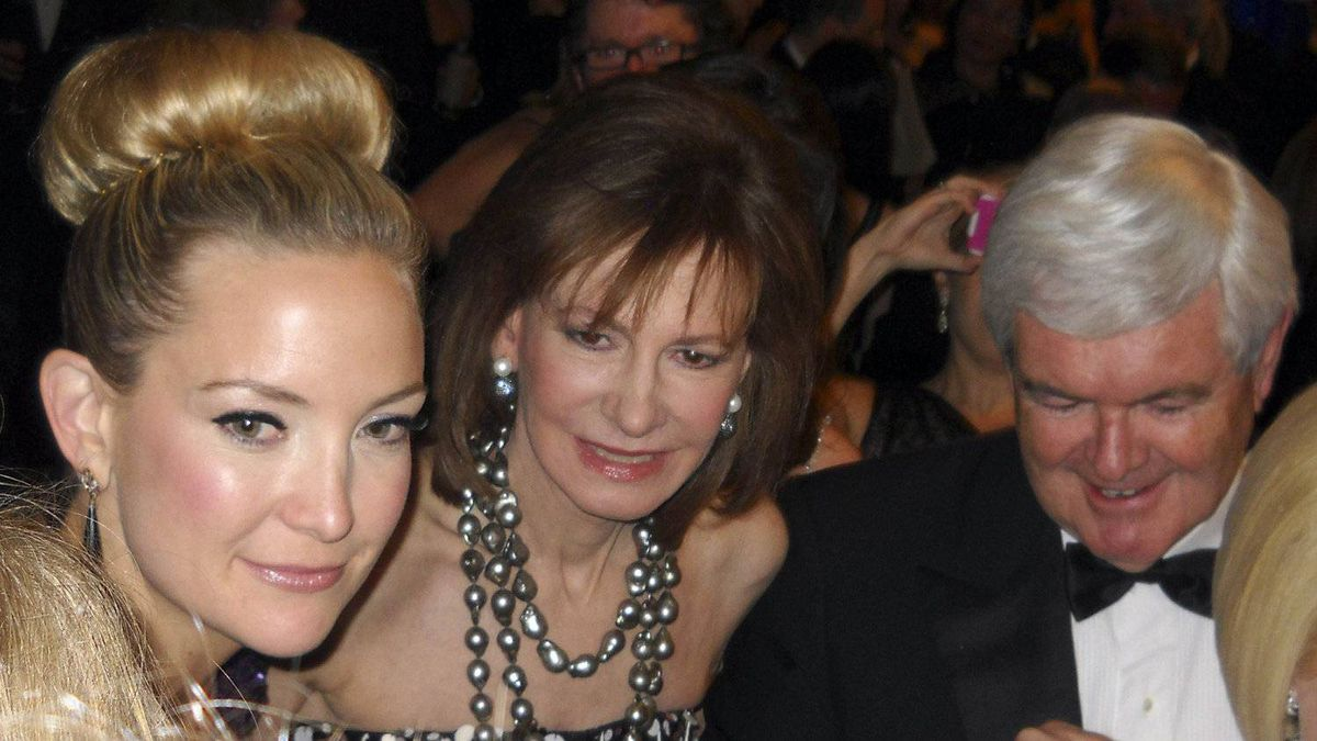 Actor Kate Hudson, left, with Washington Post publishing heiress and senior associate editor Lally Weymouth and soon-to-be former U.S. Republican presidential nomination candidate Newt Gingrich at the annual White House Correspondents' Association Dinner in Washington April 28, 2012.