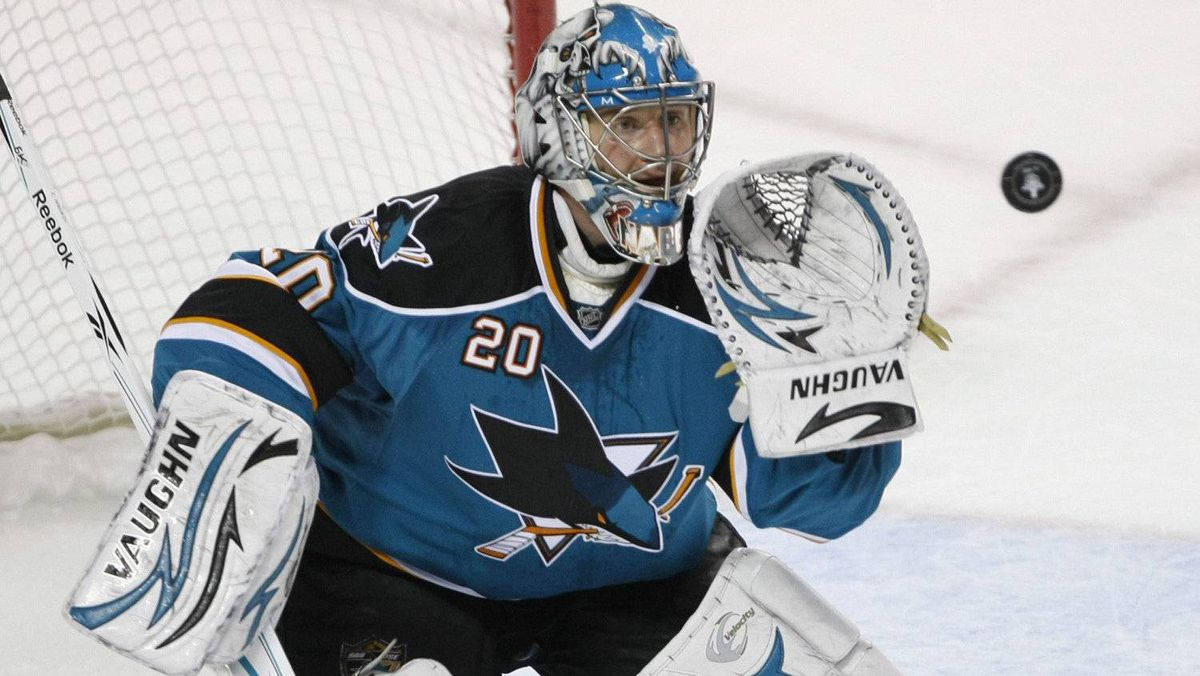 Evgeni Nabokov eyes the puck during a playoff game last year when he was a member orf the San Jose Sharks.