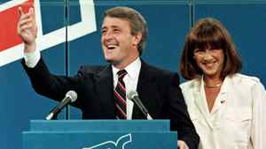Brian Mulroney and his wife, Mila, wave from the stage on election night in Sept. 4, 1984.