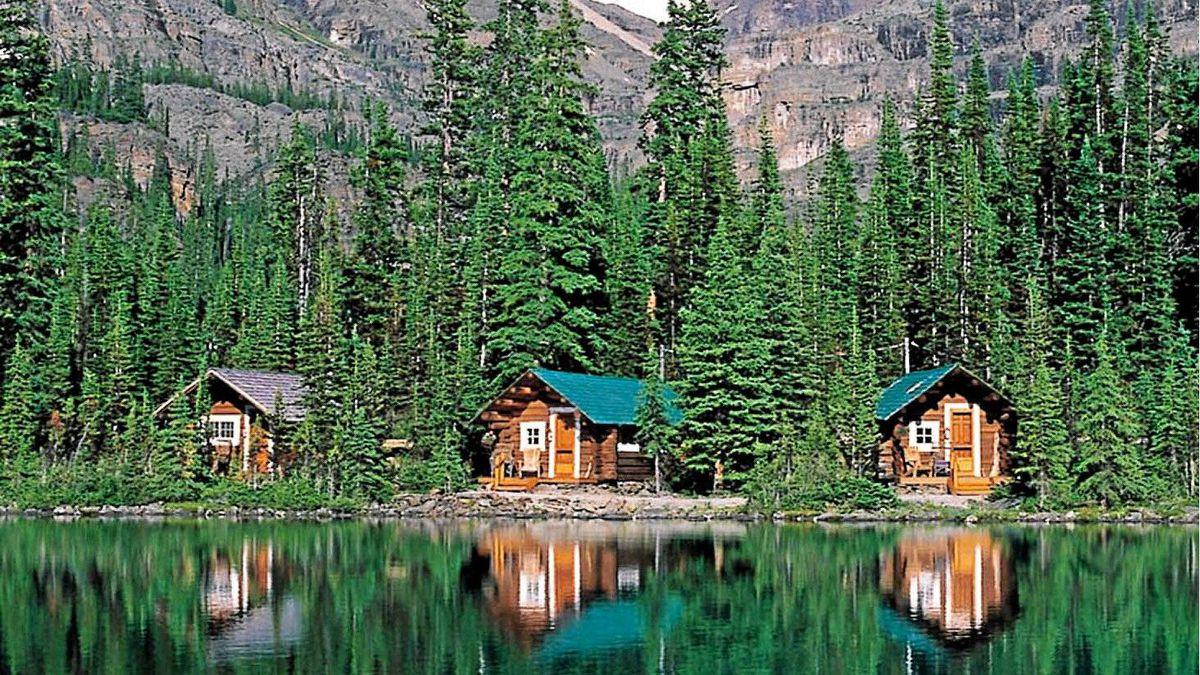 Cabins along Lake O'Hara in Yoho National Park in British Columbia.