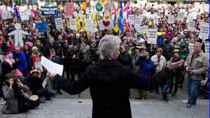 B.C. Teachers' Federation president Susan Lambert addresses teachers and other supporters during a rally on the final day of a three-day provincewide walkout in Vancouver on Wednesday, March 7, 2012.
