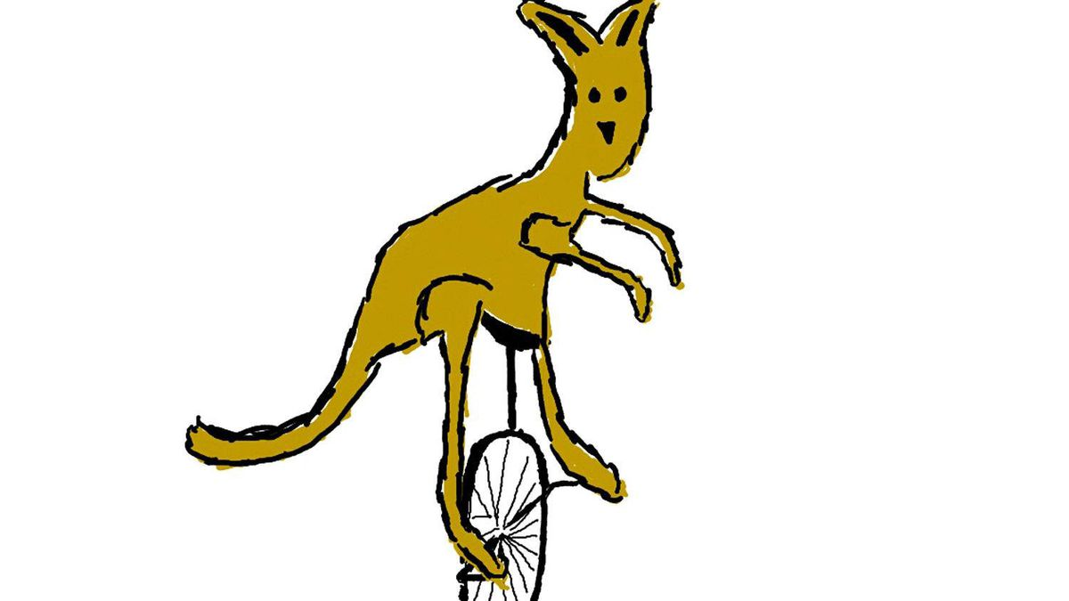 Drew Bomhof's drawing of a kangaroo on a unicycle