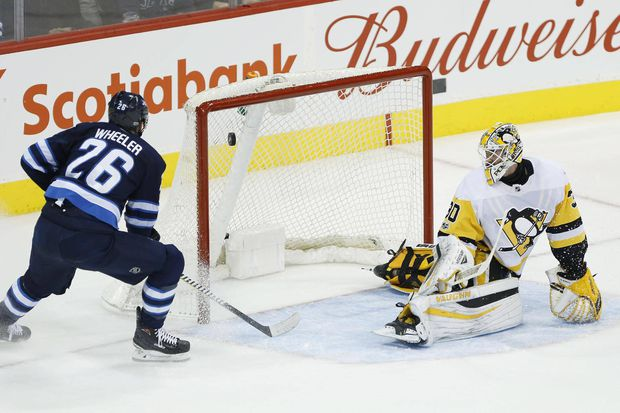 Blake Wheeler Scores Hat Trick In First Period As Jets Rout Penguins
