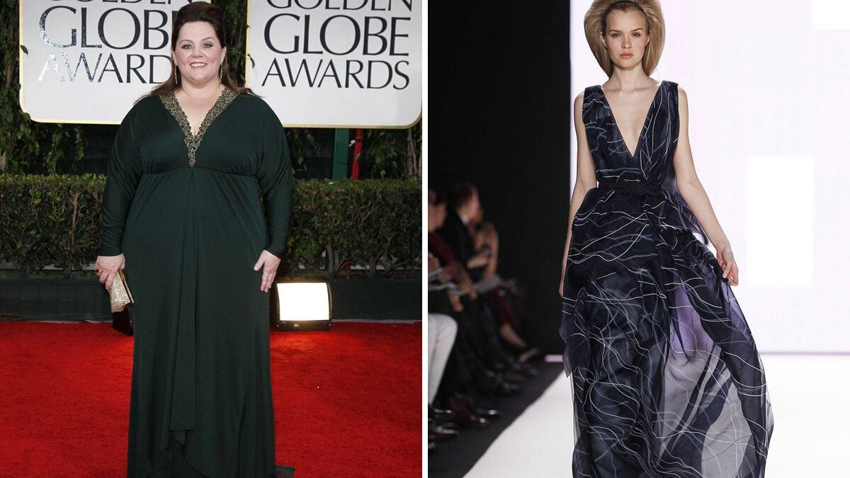 Melissa McCarthy in Carolina Herrera This beautiful dress keeps with the funny lady's trend of dark colours and deep necklines. But the flowing material and dramatic pattern provide extra visual interest. Knockout.