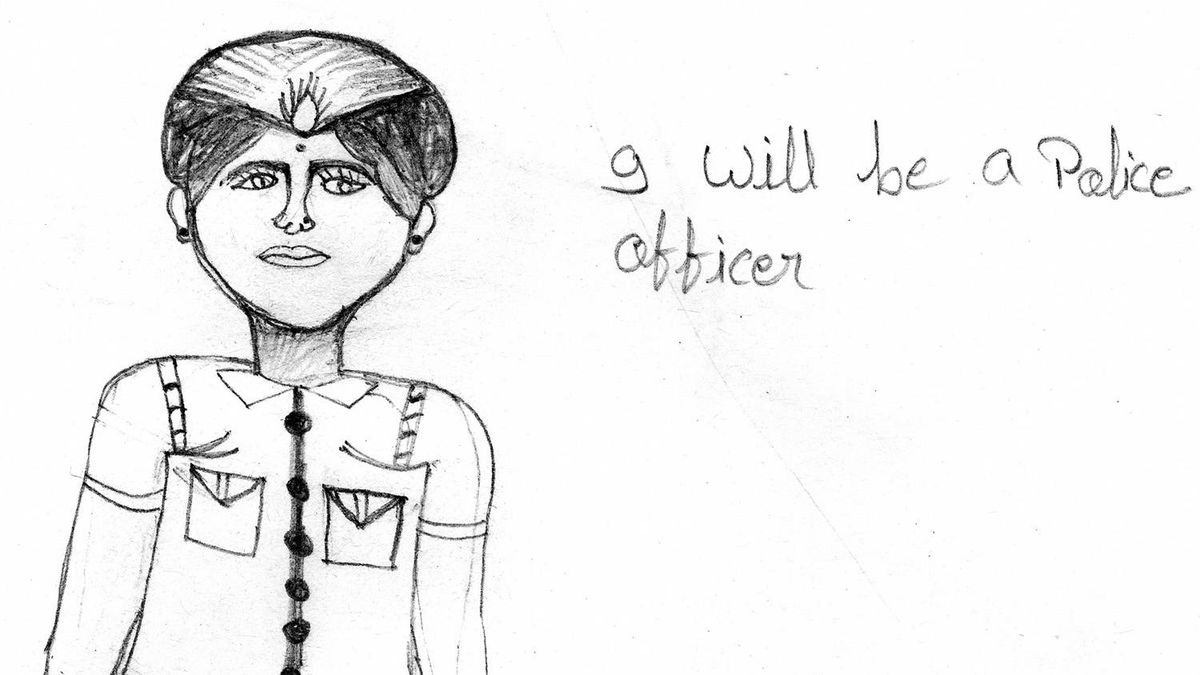 A drawing Jyoti did imagining herself as a police officer when she grows up.