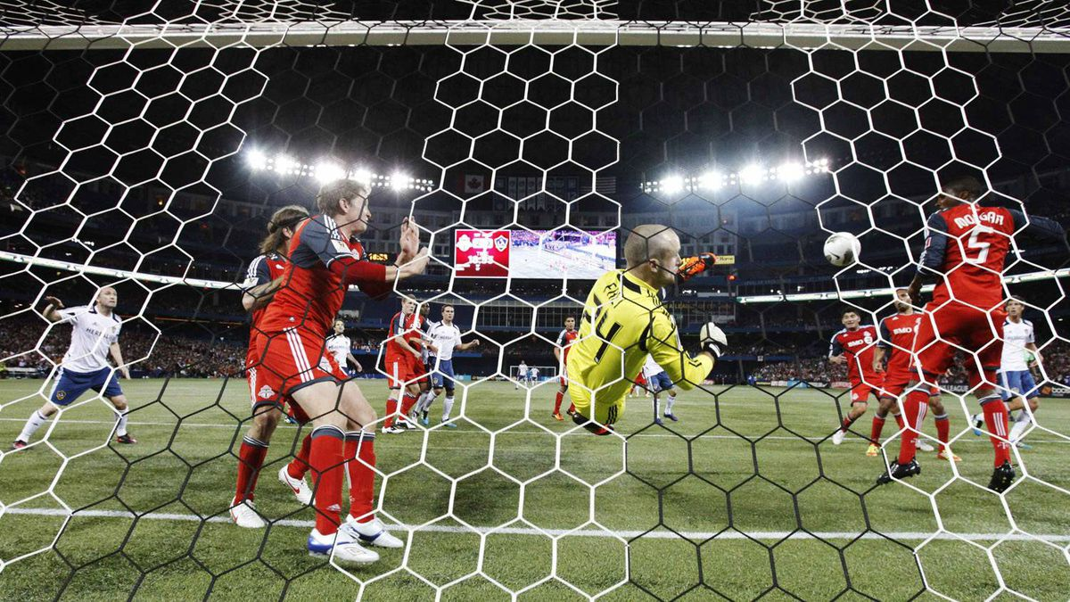 Toronto FC's goalkeeper Stefan Frei makes a save against the L.A. Galaxy.