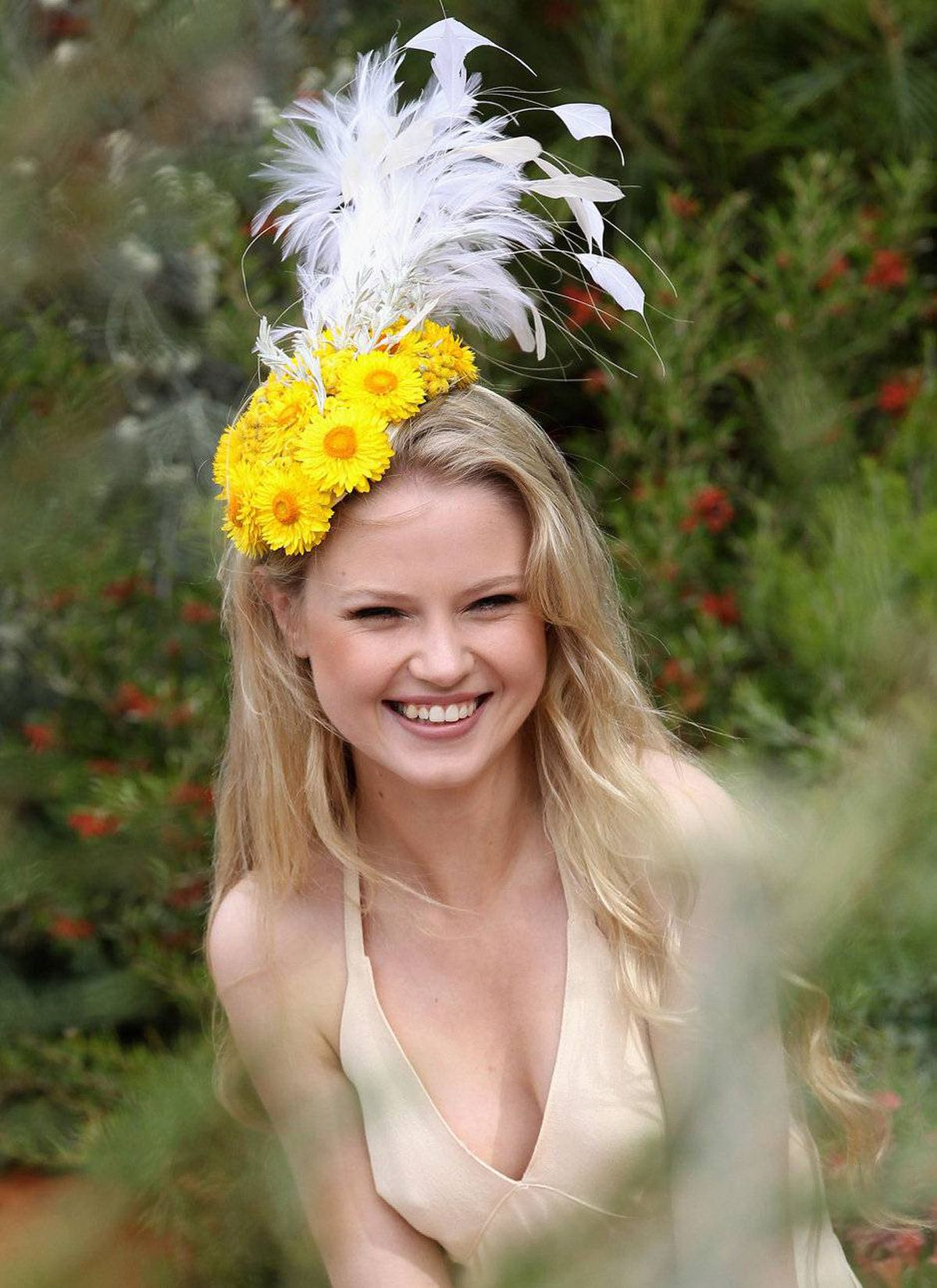 Model Adeele Rassel poses in the Royal Botanic Gardens of Melbourne 'The Australian' Garden during the Chelsea Flower Show Press and VIP Day on May 23, 2011 in London, England.