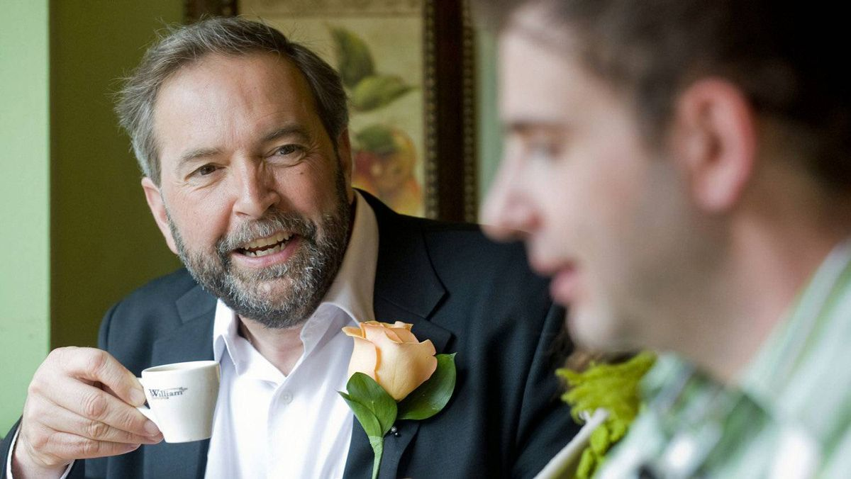 Deputy NDP leader Thomas Mulcair meets with supporters as voters cast their ballots in Montreal on May 2, 2011.