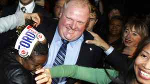 Toronto mayor-elect Rob Ford is greeted by supporters following his election victory. Peter Power/The Globe and Mail