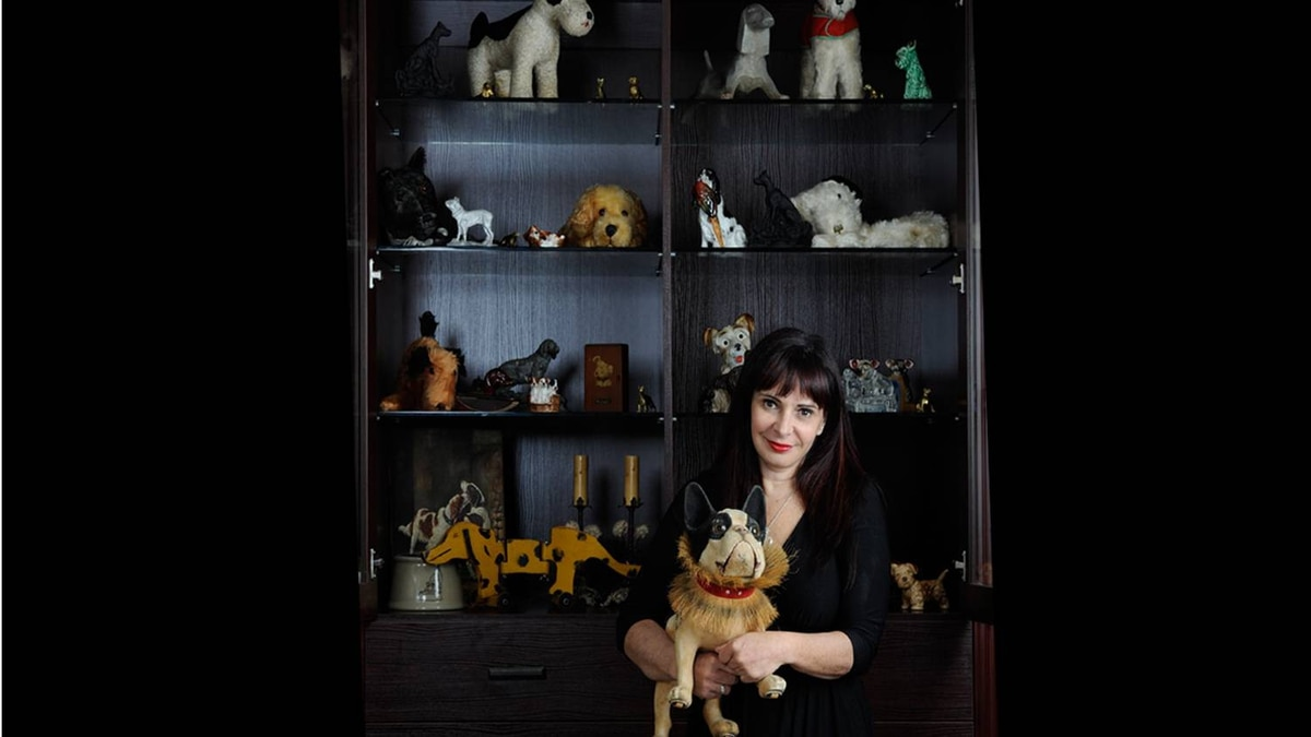 Marlene Cook, holding her rare bulldog toy, stands in front of a case containing some of collection of 8,000 pieces of dog memorabilia