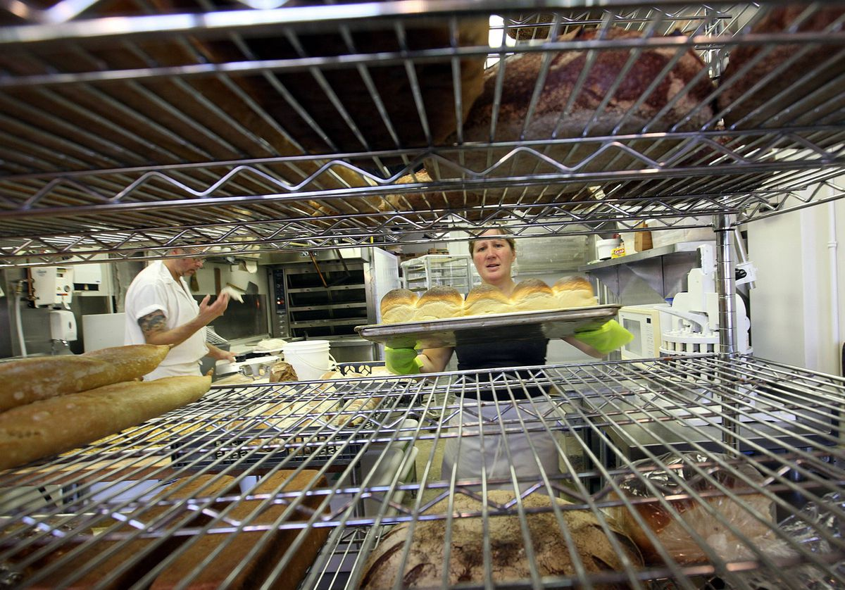 Cliffside Hearth Bread Company co-owner Camelia Proulx at work in the bakery.