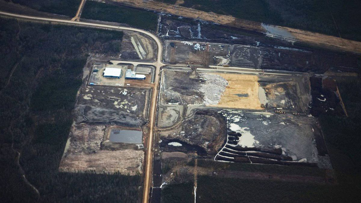 An aerial view of the Athabasca oil sands region in Alberta.