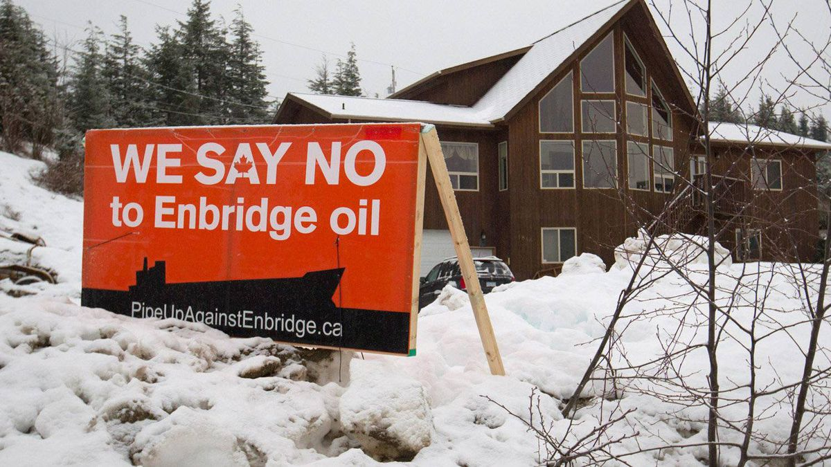A sign showing opposition to the $5.5-billion Enbridge oil pipeline from Alberta to the northwest coast of British Columbia sits on a property in Kitimat, B.C., on Thursday January 12, 2012.
