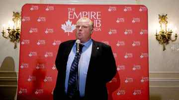 Toronto Mayor Rob Ford briefly answered a limited number questions from the media, after speaking at an Empire Club of Canada event in Toronto, Ontario on October, 14, 2011