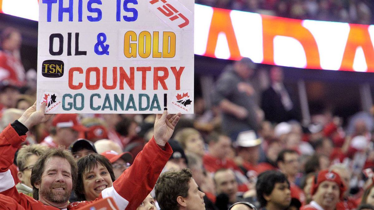 Canada hockey fans wait for the start of the Canada versus United States game at the IIHF World Junior Championships hockey action in Edmonton on Saturday, Dec. 31, 2011.