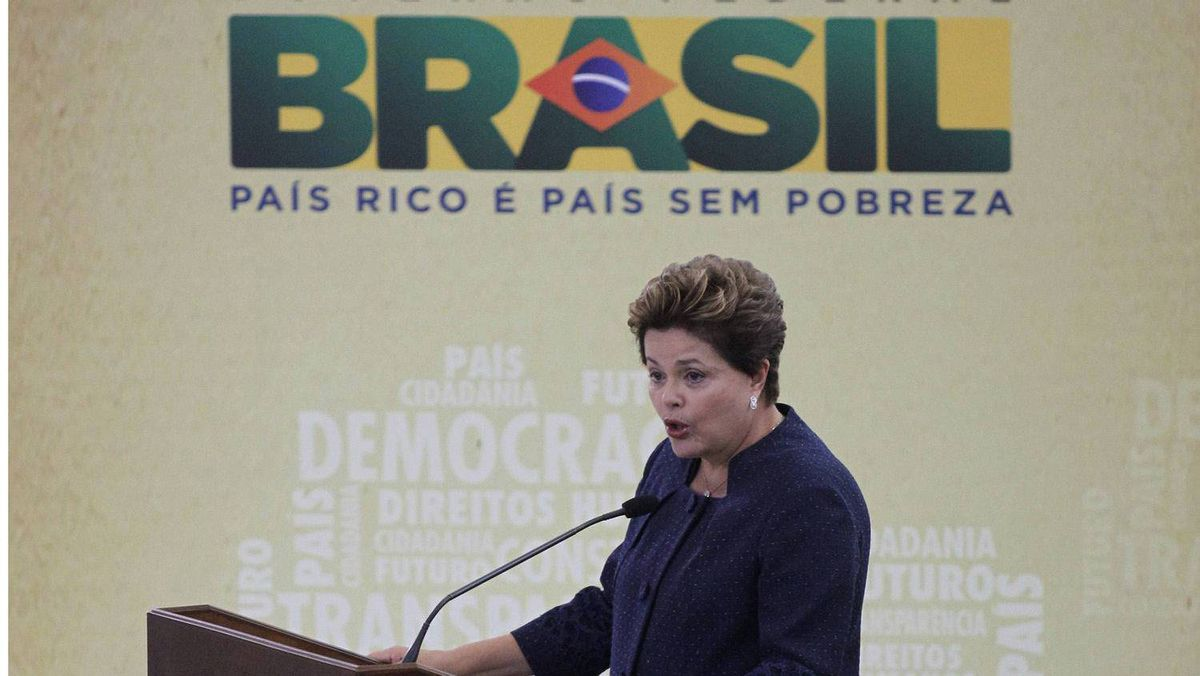 Brazil's President Dilma Rousseff has blamed a monetary 'tsunami' of cheap money in Europe and the United States for making Brazil's currency overvalued and causing its exports to become uncompetitive.