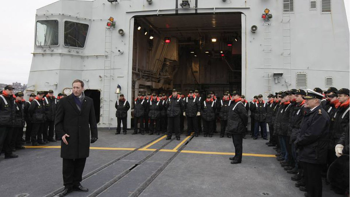 Peter MacKay, the Minister of National Defence, speaks to the crew of HMCS Halifax on Thursday, January 14, shortly before the ship left Halifax for Haiti.